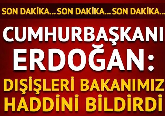 Son Dakika! Cumhurbaşkanı Erdoğan: Dışişleri Bakanımız haddini bildirdi
